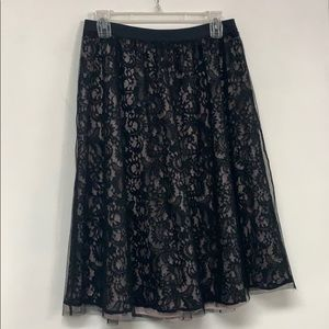 NEW Express Black Lace Over Pale Pink Skirt